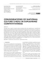 prikaz prve stranice dokumenta Considerations of national culture's role in explaining competitiveness